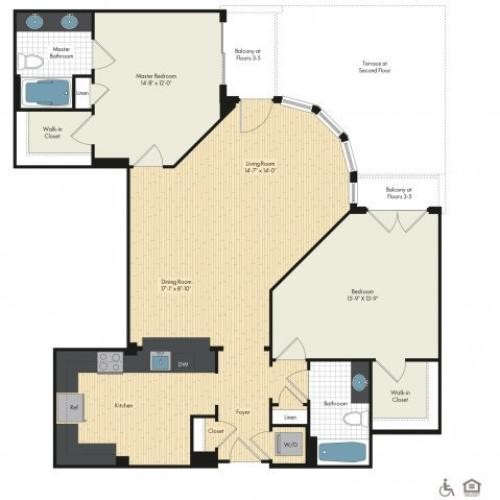 Floor Plan 28 | Luxury Apartments In Bethesda MD | Upstairs at Bethesda Row