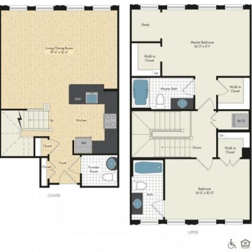 Floor Plan 29 | Bethesda Luxury Apartments | Upstairs at Bethesda Row