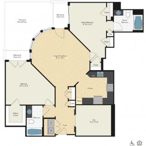 Floor Plan 33 | Luxury Apartments In Bethesda MD | Upstairs at Bethesda Row