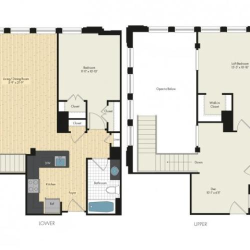 Floor Plan 34 | Bethesda Luxury Apartments | Upstairs at Bethesda Row
