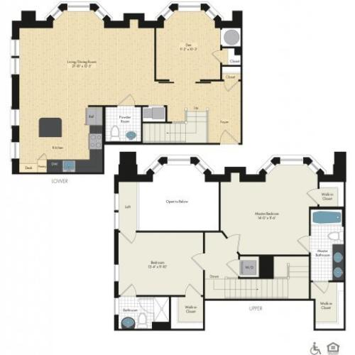 Floor Plan 35 | Luxury Apartments In Bethesda | Upstairs at Bethesda Row