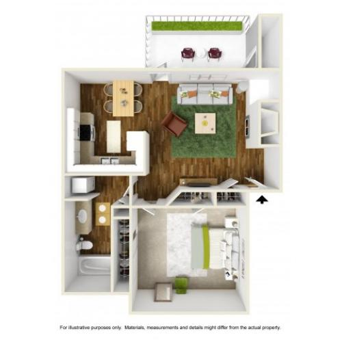 1 Bedroom Floor Plan | Rivercrest Meadows 2