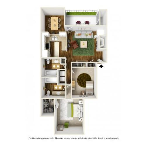 2 Bedroom Floor Plan | Rivercrest Meadows 2
