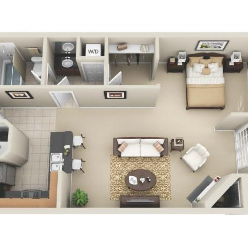 Studio Floor Plan | Apartments In Los Angeles | The Preston Miracle Mile