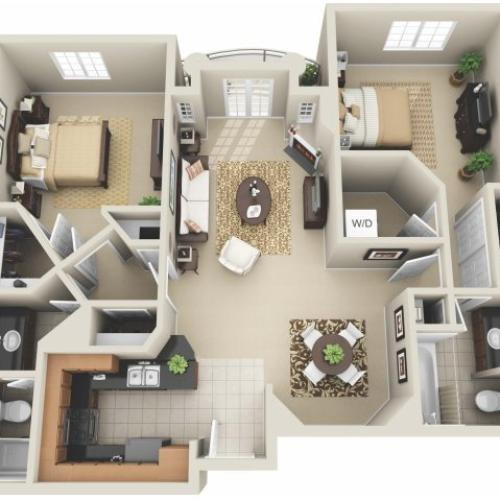 Two Bedroom Floor Plan 2 | Apartments In Los Angeles | The Preston Miracle Mile