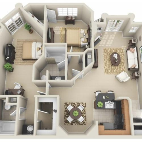 Two Bedroom Floor Plan 4 | Apartments In Los Angeles | The Preston Miracle Mile