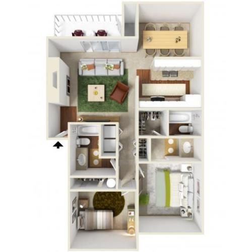 Two Bedroom Floorplan | Landmark 2
