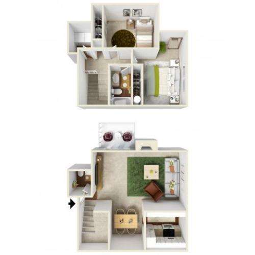 Two Bedroom Floorplan | Landmark 4