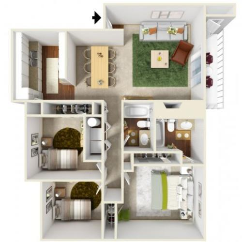 Three Bedroom Floorplan | Landmark
