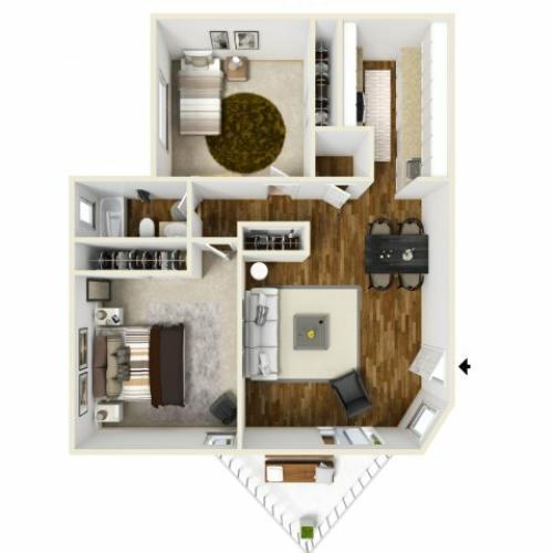 2 Bedroom Floor Plan | Village Creek 2