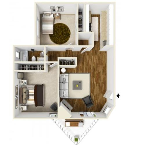 2 Bedroom Floor Plan | Village Creek 4