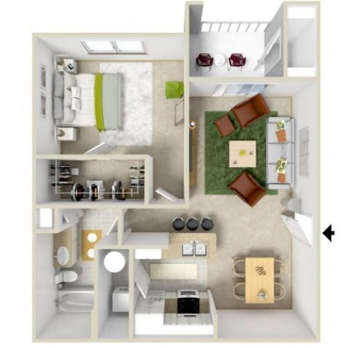 A2 | 1 bed 1 bath | from 729 square feet