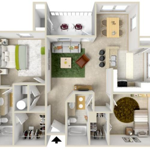 B2 | 2 bed 2 bath | from 990 square feet