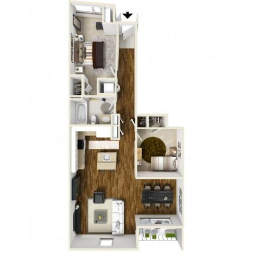 3D Floor Plan B   Apartments For Rent Tacoma WA  Chelsea Heights Apartments