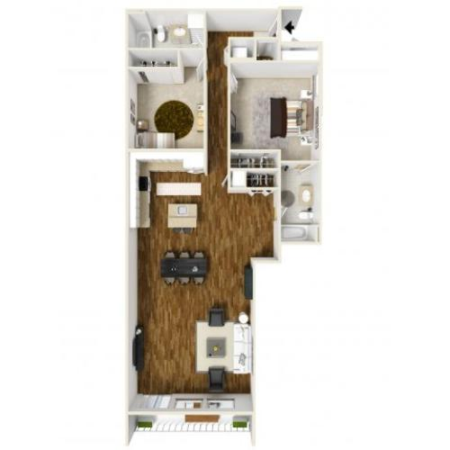 3D Floor Plan D   Apartments For Rent Tacoma WA  Chelsea Heights Apartments