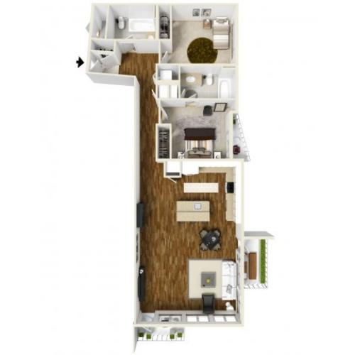 3D Floor Plan C   Apartments For Rent Tacoma WA  Chelsea Heights Apartments