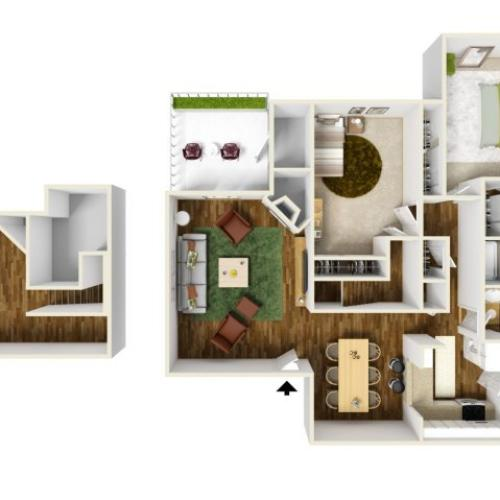 2 Bedroom Floor Plan | Rivercrest Meadows 3