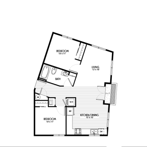 Two Bedroom Floor Plans | Apartments For Rent In Eugene Oregon | Crescent Village East