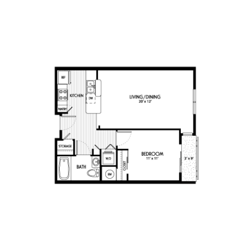 One Bedroom Floor Plans | Apartments For Rent In Eugene Oregon | Crescent Village East