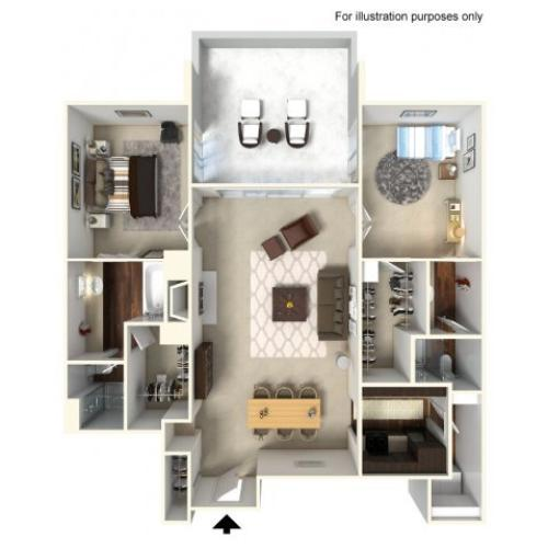 2 Bedroom Floor Plan | Alta Springs 2