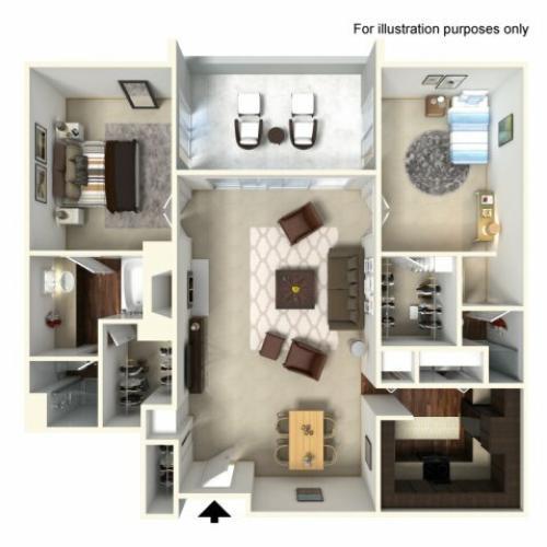 2 Bedroom Floor Plan | Alta Springs 6