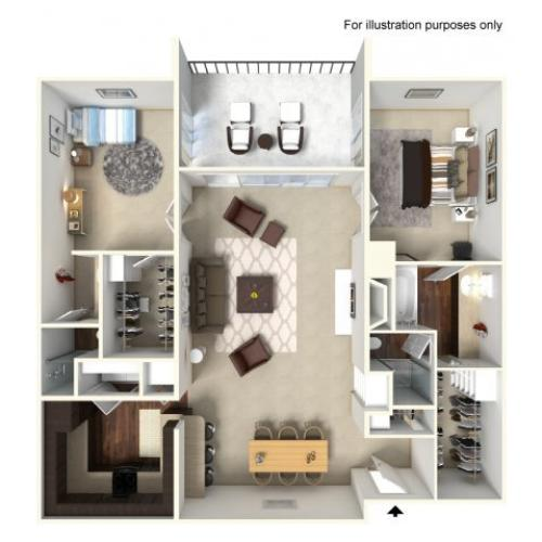 2 Bedroom Floor Plan | Alta Springs 8