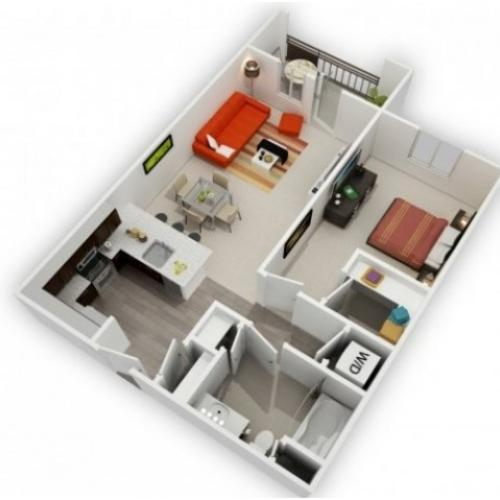 One Bedroom Floorplan | 121 Tasman