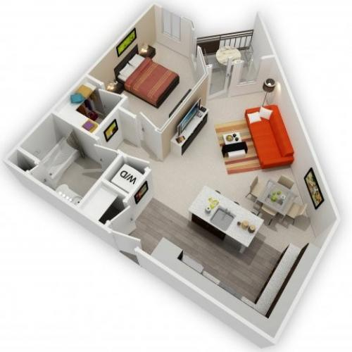 One Bedroom Floorplan | 121 Tasman 1
