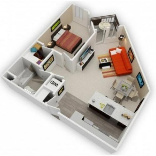 One Bedroom Floorplan | 121 Tasman 2