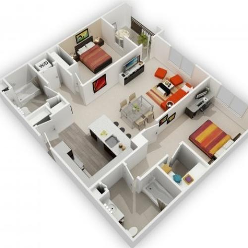 Two Bedroom Floorplan | 121 Tasman