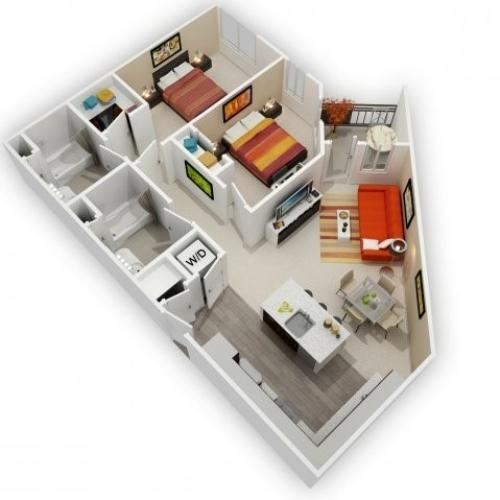 Two Bedroom Floorplan | 121 Tasman 1