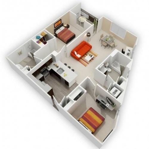 Two Bedroom Floorplan | 121 Tasman 2