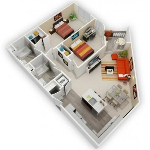 Two Bedroom Floorplan | 121 Tasman 3