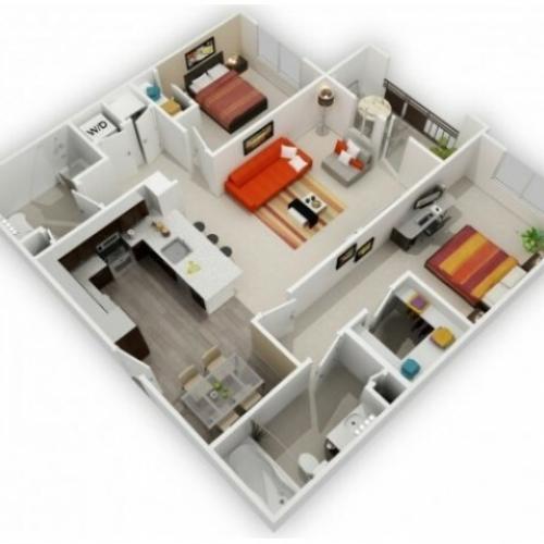 Two Bedroom Floorplan | 121 Tasman 4