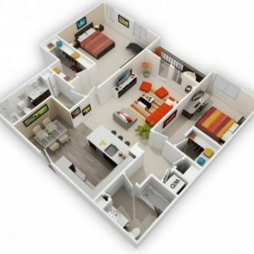 Two Bedroom Floorplan | 121 Tasman 5
