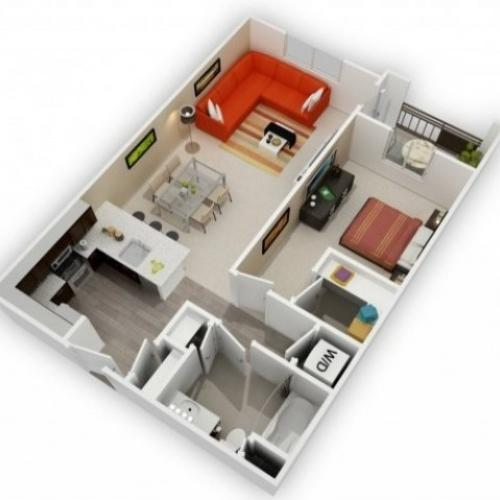 One Bedroom Floorplan | 121 Tasman 4