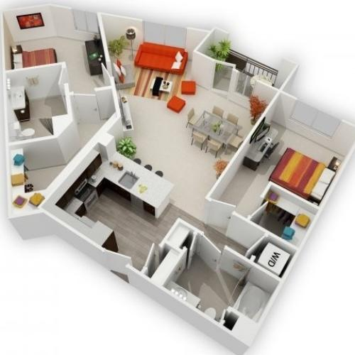 Two Bedroom Floorplan | 121 Tasman 7