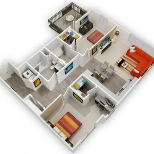 Two Bedroom Floorplan | 121 Tasman 6