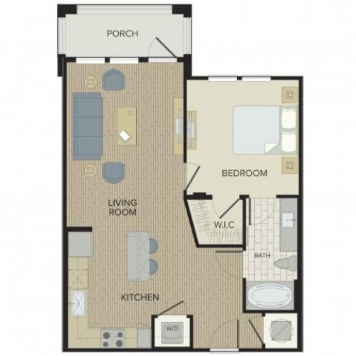 1 Bedroom Floor Plan | Port Orange Apartments | Sanctuary at West Port