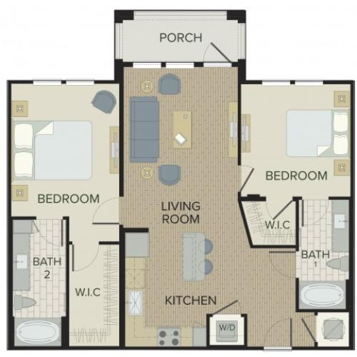 2 Bedroom Floor Plan | Apartments Port Orange FL | Sanctuary at West Port