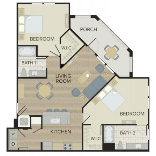 2 Bdrm Floor Plan | Port Orange FL Apartments | Sanctuary at West Port