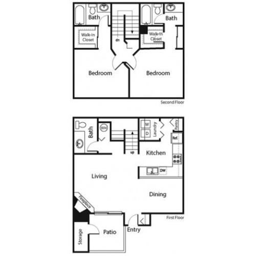 2 Bedroom Floor Plan | Apartments For Rent In Ahwatukee | Verano Townhomes