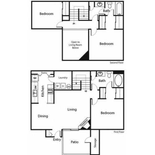 3 Bedroom Floor Plan | Ahwatukee Apartments | Verano Townhomes