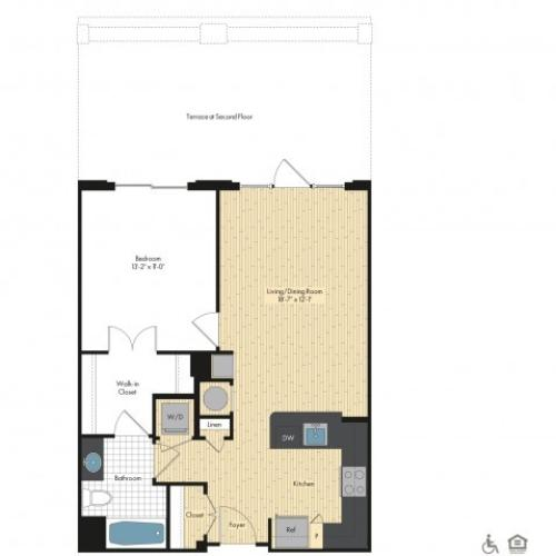 Floor Plan 20 | Luxury Apartments In Bethesda | Upstairs at Bethesda Row