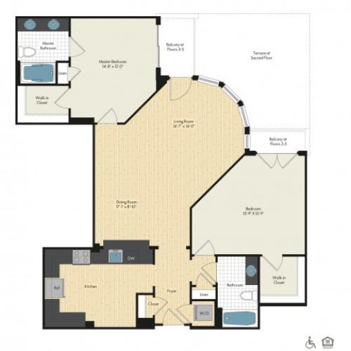 Floor Plan 45 | Luxury Apartments In Bethesda | Upstairs at Bethesda Row