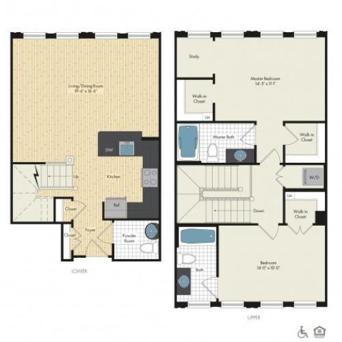 Floor Plan 46 | Luxury Apartments In Bethesda Maryland | Upstairs at Bethesda Row