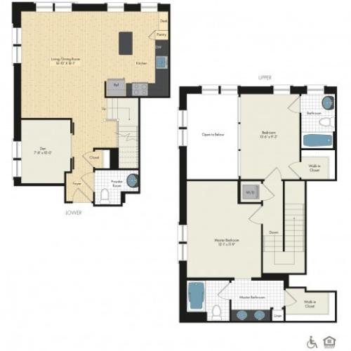 Floor Plan 47 | Apartments For Rent In Bethesda Maryland | Upstairs at Bethesda Row