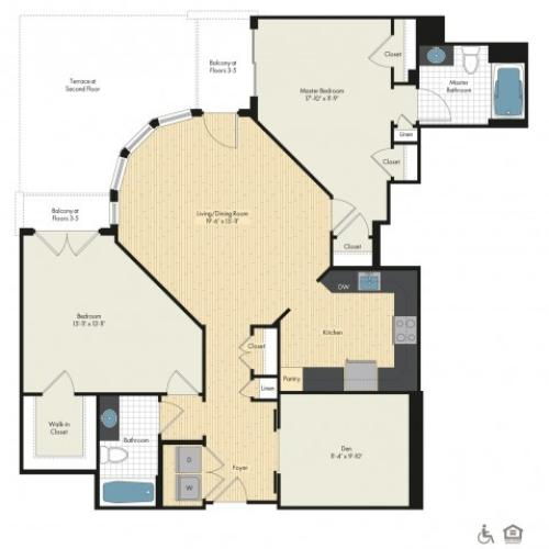 2 Bedroom Floor Plan | Luxury Apartments In Bethesda MD | Upstairs at Bethesda Row