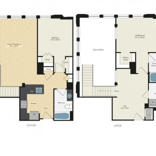 2 Bdrm Floor Plan | Bethesda Luxury Apartments | Upstairs at Bethesda Row