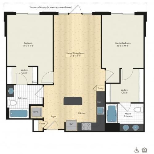 Floor Plan 53 | Luxury Apartments In Bethesda MD | Upstairs at Bethesda Row